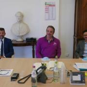 Da sinistra: il sindaco di Senigallia Maurizio Mangialardi, il presidente della Fondazione Città di Senigallia Michelangelo Guzzonato, e il direttore Francesco Costanzi